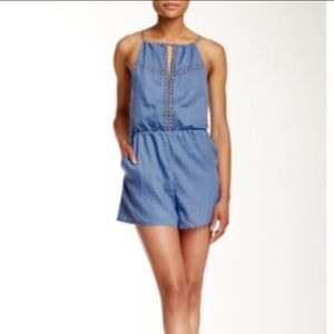 Embroidered keyhole romper